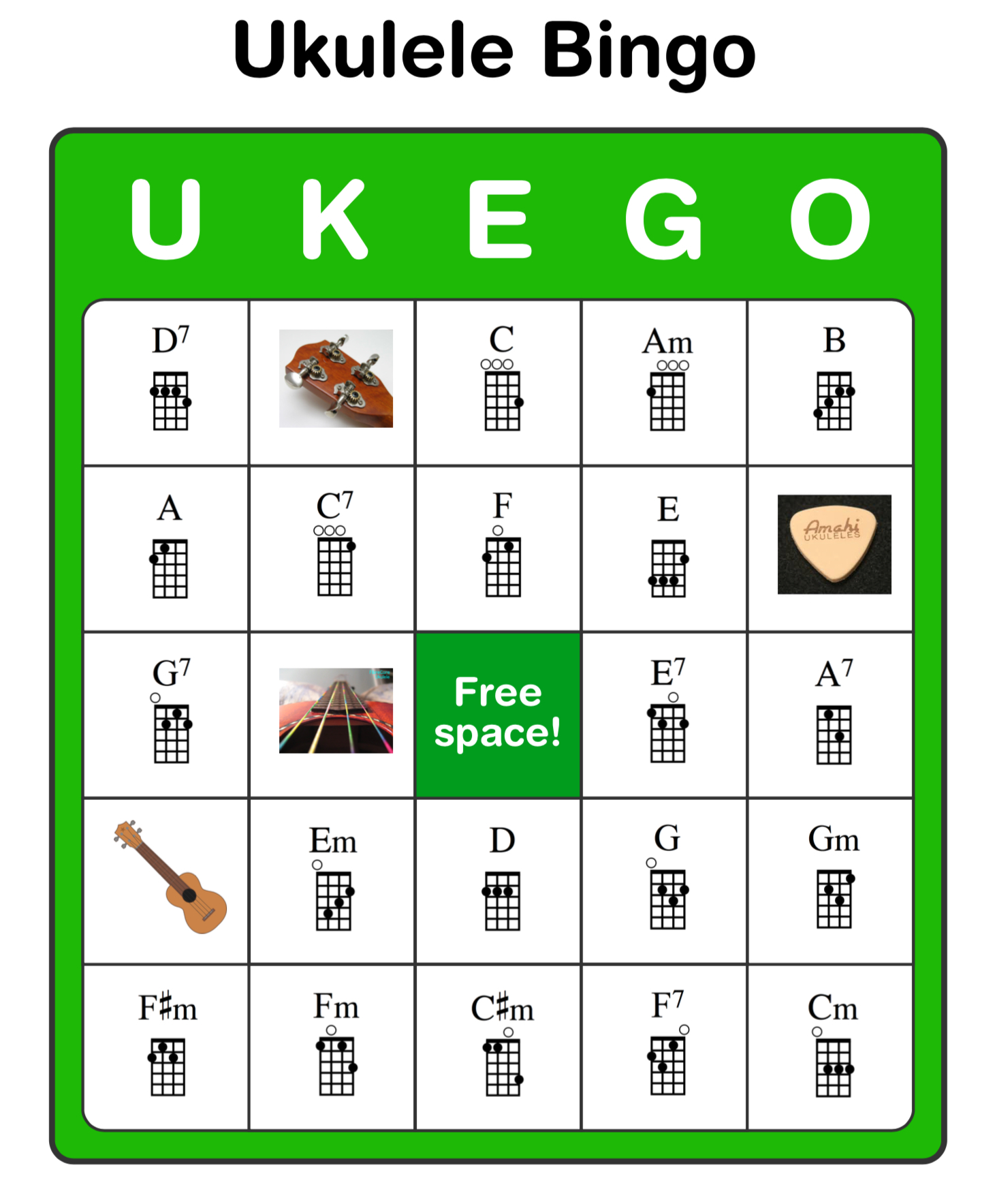 Ukulele Bingo Ukego   ukestuff